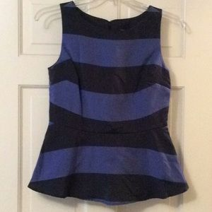 NWT!  Adorable navy and blue striped peplum top!